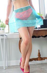 """VTG style hand made sissy skirt Blue Sheer Nylon Wide lace Half Slip M/L 16"""""""