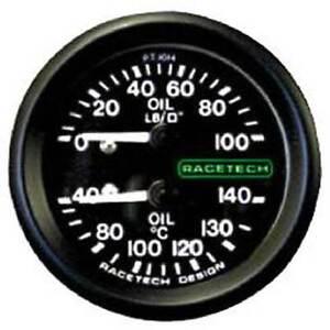 """Racetech Oil Pressure/Oil Temp Gauge Backlit 1/8"""" BSP Nipple Fitting & 9ft Pipe"""