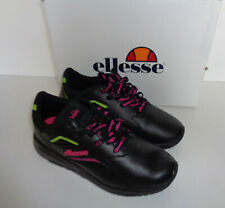 Ellesse New Ladies Black Leather Contest Retro Trainers Shoes RRP £65 UK Size 4