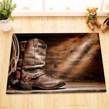 Rustic Cowboy Leather Roots Wooden Home Decor Non-Slip Bath Mat Door Rug Carpet