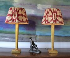 A Pair of Stylish Gold Gilt Wood Brass Hall Bed Side Table Lamps Porta Romana 2