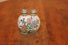 Antique Double Cloisonne Copper Enameled Snuff Bottle,Hand-Painted Birds Floral