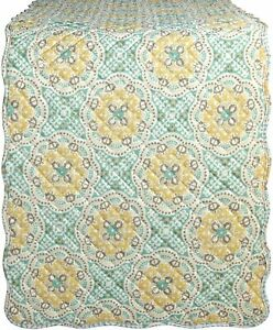 WAVERLY Quilted Floral Medallion Table Runner Astird/Light Teal & Yellow 14 x 70