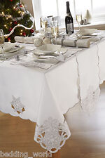 FROST WHITE TABLE CLOTHS SILVER EMBROIDERED SNOWFLAKES PARTY CHRISTMAS OCCASION