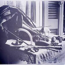 "Antique Glass Plate Negative Photograph 4 1/4"" Cat O Nine Tails Guns Bullets"