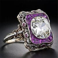 Women Men Topaz Amethyst 925 Silver Wedding Engagement Ring Jewelry Retro