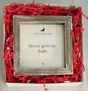 """Never Give Up Inspirational Sign Gift Wood Black White Wall Hanging Decor 5x5"""""""
