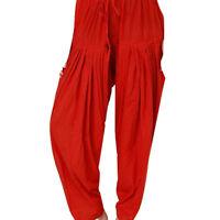 Indian Trouser Women Salwar FS Red Dress Fabric Cotton Solid Tunic Kurti Pant
