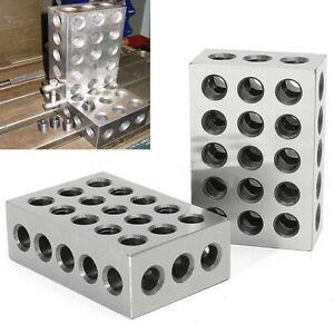 "2Pcs 23 Holes 1x2x3 Blocks Ultra Precision 0 .0002"" Ground Hardened Milling Tool"