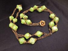 "Vtg Art Deco 37"" Long Green Art Glass Flapper Chain Necklace Rose Clasp Gold Tn"