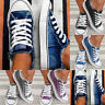 Womens Lace Up Denim Canvas Shoes Casual Comfy Slip-On Sneakers Size 5-8.5 HOT