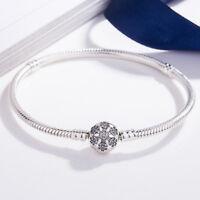 Sterling Flower s925 Silver Bracelet Bangle Fit European Charms Bead Snake Chain
