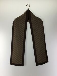 Gucci Muffler Wool Beg Total Pattern Brown Made In Italy