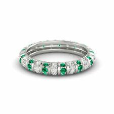 0.50 CT White Stone & Emerald Gemstone Studded Bengals Anniversary Band 925 SS