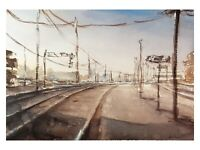 Original Aquarell Gemälde Malerei impressionistisch urban Schienen Bahnhof