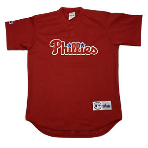 VTG Majestic Philadelphia Phillies Made in USA Red MLB Baseball Jersey Sz Medium