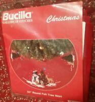 BUCILLA SNOWMAN & WOODLAND FRIENDS RED FELT TREE SKIRT KIT