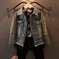 Children Kids Girl Casual Embroidery Cartoon Denim Jacket Outerwear Coat Clothes