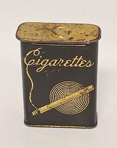 """Vintage 1930's Art Decco Cigarette Tin Black & Gold - Continetal Can Company 3"""""""