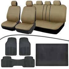 Full Interior Set Car Seat Covers, All Weather Floor Mats, Cargo Liner Beige/Bla