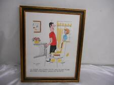 Old Vtg 1975 WATERCOLOR PAINTING Artist Signed Bill Davey Wood Picture Frame