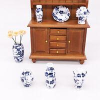 7Pcs/Set 1:12 Dollhouse miniatures porcelain vase doll house ceramic accessor Hu