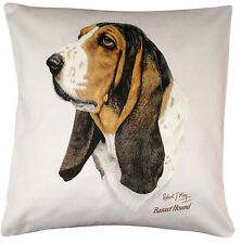 More details for basset hound rm breed of dog themed cotton cushion cover - perfect gift