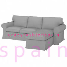 IKEA EKTORP Cover for 3-seat sofa, with chaise longue/ Remmarn light grey