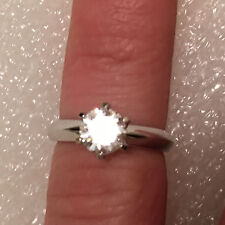 1.5 CT ROUND CUT DIAMOND SOLITAIRE ENGAGEMENT RING 14K WHITE GOLD ENHANCED 6.5