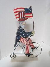 Primitive Folk Art Carved Wooden Uncle Sam On Metal Penny Farthing Bike