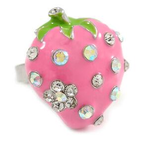 Crystal Enamel Strawberry Fruit Ring In Silver Tone/ Pink Enamel/ Adjustable