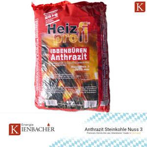 25kg Premium Steinkohle Anthrazit Nuss 3 Heizprofi Ibbenbüren Kohle Union