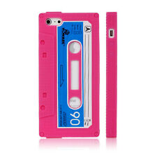 HOT PINK RETRO CASSETTE TAPE DESIGN SILICONE BACK CASE FOR APPLE iPHONE 5 5S