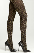 NWT BEBE Damask Tights Black & Gold Made in Italy & Black Thong Pantie Size S