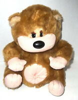 Cuddle Wit Brown Bear Black Nose Bellybutton Plush Stuffed Toy Vintage 10 Inch