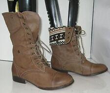 """new Brown 1""""Block Heel Combat Sexy Mid-Calf Boots   US WOMEN Size 8.5"""