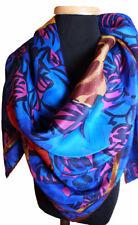 "ALBERT NIPON Bold Multi-Color Floral Pure Silk Vintage Scarf 30"" Square"