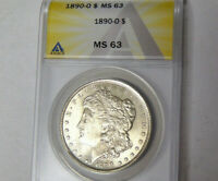 ANACS MS63 1890-O Morgan Silver Dollar New Orleans Mint Choice BU