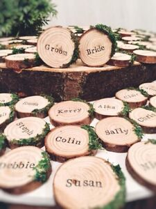 Rustic wedding personalised wooden logs slices disc with moss place seat