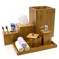BAMBOO 6 PIECE BATHROOM SET SOAP DISPENSER TUMBLER TRAY BIN TISSUE BOX
