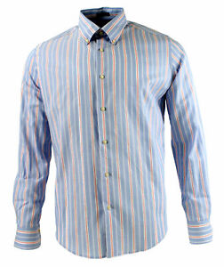 Viyella Modern Fit Blue Oxford Stripe Long Sleeve Supima Cotton Shirt