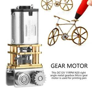 12V 11RPM N20 Right Angle Metal Gearbox Micro Gear Motor for 3D Printing Pen fyg