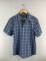 Sportscraft Men's Short Sleeved Button Up Tapered Fit Shirt Size L Blue Check