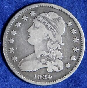 1834 25c Capped Bust Silver Quarter Dollar Coin