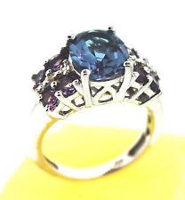 Item #607 Lavender Alexite (Ovl 2.36 Ct.) Amethyst, Diamond Ring Size 6, 925