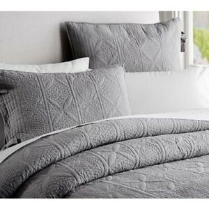 Pottery Barn Hanna Shams Gray Quilted Euro Size, 2