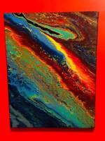 "ABSTRACT CANVAS ART Original Acrylic Painting Bright Modern ARTWORK 20"" X 16"""