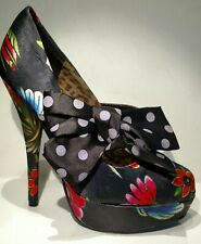 IRON FIST Sz6m black satin multi colors 5.5inch heel front polka dot bow
