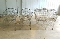 3 PCS ELABORATE VINTAGE ANTIQUE WROUGHT IRON METAL PATIO CHAIR & LOVE SEAT SET