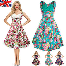 UK Womens Hepburn Vintage 50s Floral Rockabilly Swing Pin Up Party Evening Dress